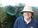 Dr. Christopher Viney – UC Merced professor - with hippo at San Diego Zoo